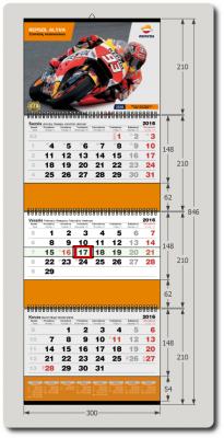 3-ų dalių kalendorius +